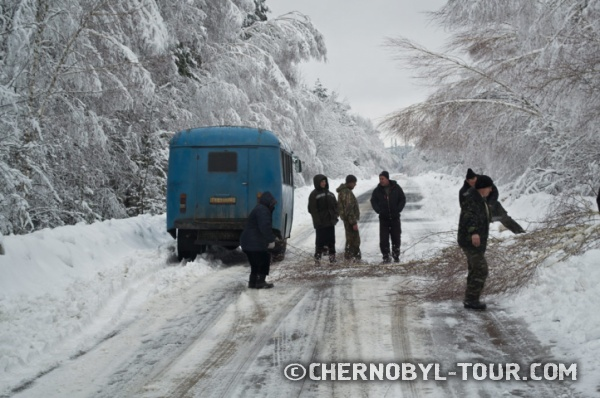 Неожиданное препятствие по дороге в Чернобыль